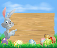 Easter rabbit pointing at message Royalty Free Stock Photography