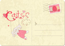 Easter Rabbit on a retro card Stock Image