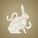 Easter rabbit sihouette calligraphy stamp. Bunny on recycled cartoon background, vector illustration Stock Images