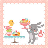Easter rabbit tea party. Easter tea party background with cute Easter rabbit stock illustration