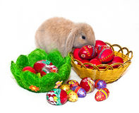 Easter rabbit and two baskets with Easter eggs Royalty Free Stock Photos