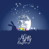 Easter rabbit watching the moon egg blue background. Easter rabbit silhouette watching the moon egg blue background vector Royalty Free Stock Images