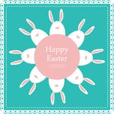 Easter rabbits arranged as flower. Retro card Stock Image
