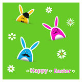 Easter rabbits background. Colorful holiday vector illustration. Stock Photo