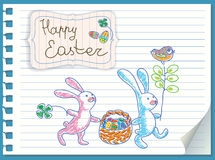 Easter rabbits are a basket of eggs. Vector card Royalty Free Stock Image