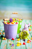 Easter rabbits and candy Royalty Free Stock Images