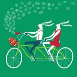 Easter rabbits cyclists illustration. Vector illustration with cute Easter rabbits on tandem bicycle with gift egg in basket. Holiday illustration for your Royalty Free Stock Images