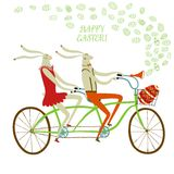 Easter rabbits cyclists illustration Royalty Free Stock Photo