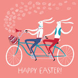 Easter rabbits cyclists illustration. Vector illustration with cute Easter rabbits on tandem bicycle with gift egg in basket. Holiday illustration for your Royalty Free Stock Photo
