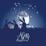 Easter rabbits dance moon egg blue background. Easter rabbits silhouette dance moon egg blue background vector Royalty Free Stock Photos