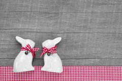 Easter Rabbits Decoration In Interior On A Wooden Background In Stock Images