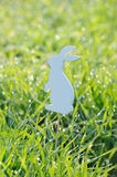 Easter rabbits decorations in fresh green grass Royalty Free Stock Image
