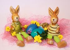 Easter rabbits and dyed eggs Royalty Free Stock Photo