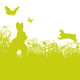 Easter rabbits and easter eggs. Easter bunny, rabbits and easter eggs Royalty Free Stock Images