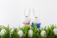 Easter rabbits and eggs Royalty Free Stock Image