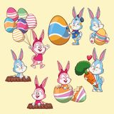 Easter rabbits and eggs cartoons. Collection over beige background vector illustration graphic design vector illustration