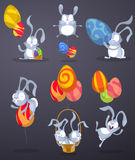 Easter rabbits with eggs in the form of balloons Royalty Free Stock Images