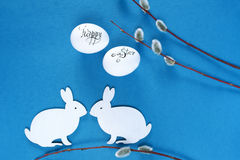 Easter rabbits and eggs. stock photos