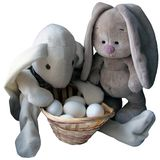Easter rabbits and eggs stock image