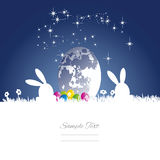 Easter rabbits moon egg blue white background. Easter rabbits silhouette moon egg blue white background vector Royalty Free Stock Photography