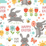 Easter rabbits pattern stock illustration