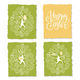 Easter rabbits postcards Royalty Free Stock Images