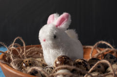 Easter rabbits and quail eggs in wooden bowl on background close up Royalty Free Stock Photos