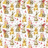 Easter rabbits seamless pattern. Watercolor background with cute watercolor bunnies. Easter rabbits seamless pattern. Watercolor Valentine background with cute Stock Images