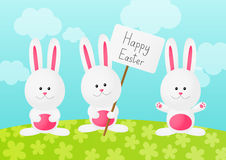 Easter rabbits on spring background Royalty Free Stock Image