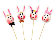 Easter Rabbits on a stick. Isolated on a white background Royalty Free Stock Image