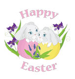 Easter rabbits on white background Royalty Free Stock Photography