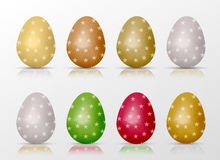 Easter realistic colorful eggs set with star fill and reflections. Royalty Free Stock Images