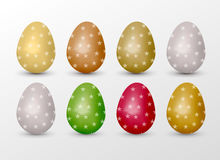 Easter realistic colorful eggs set with star fill. Stock Images
