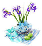 Easter reason with  irises and easter eggs Royalty Free Stock Photography