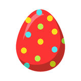 Easter Red Egg with Colorful Dot Vector Decoration Stock Image