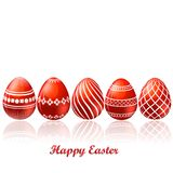 Easter red eggs card Royalty Free Stock Photo