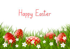 Easter red eggs on grass Royalty Free Stock Photography