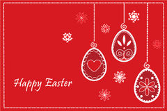 Easter red eggs in happy easter frame Royalty Free Stock Photos