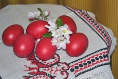 Easter red eggs. Hote Easter eggs are painted in red, according to tradition, it is eaten or given to him royalty free stock photography