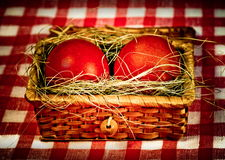 Easter  red eggs in retro style Royalty Free Stock Images