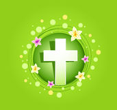 Easter religious cross spring card Stock Photography