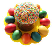 Easter- religious holiday. Easter cakes and easter eggs Royalty Free Stock Photos
