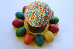 Easter- religious holiday. Easter cakes and easter eggs Royalty Free Stock Photography