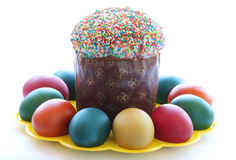 Easter- religious holiday. Easter cakes and easter eggs Stock Images