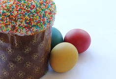 Easter- religious holiday. Easter cakes and easter eggs Royalty Free Stock Image