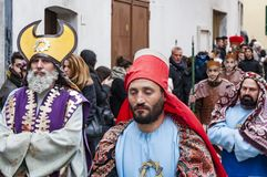 Easter Religious Procession in Barile, Basilicata Italy. BARILE, ITALY - APRIL 18, 2014: Easter Religious Procession, the Holy Friday on April 18, 2014 in Barile stock photo