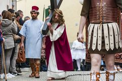 Easter Religious Procession in Barile, Basilicata Italy. BARILE, ITALY - APRIL 18, 2014: Easter Religious Procession, the Holy Friday on April 18, 2014 in Barile stock images