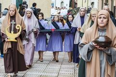 Easter Religious Procession in Barile, Basilicata Italy. BARILE, ITALY - APRIL 18, 2014: Easter Religious Procession, the Holy Friday on April 18, 2014 in Barile stock photos