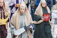 Easter Religious Procession in Barile, Basilicata Italy. BARILE, ITALY - APRIL 18, 2014: Easter Religious Procession, the Holy Friday on April 18, 2014 in Barile royalty free stock photo