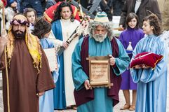 Easter Religious Procession in Barile, Basilicata Italy. BARILE, ITALY - APRIL 18, 2014: Easter Religious Procession, the Holy Friday on April 18, 2014 in Barile stock image